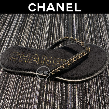 CHANEL Open Toe Casual Style Unisex Blended Fabrics Plain