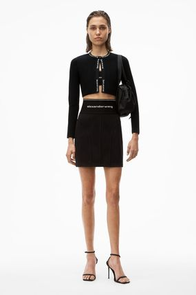 Alexander Wang Logo Pencil Skirts Short Blended Fabrics Plain Street Style