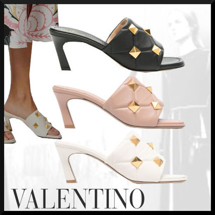 VALENTINO Open Toe Casual Style Blended Fabrics Studded Leather