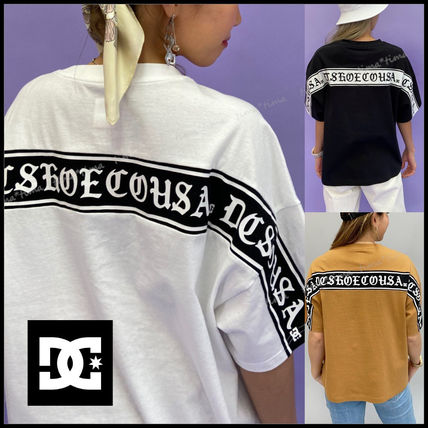 Logo Crew Neck Plain Cotton Short Sleeves Street Style