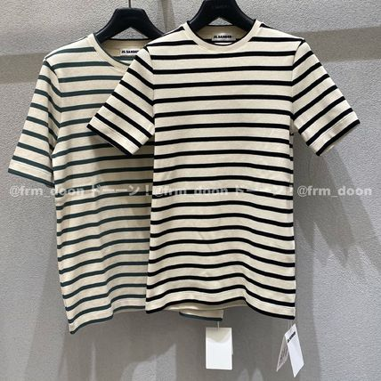 Jil Sander Crew Neck Short Stripes Short Sleeves Cropped