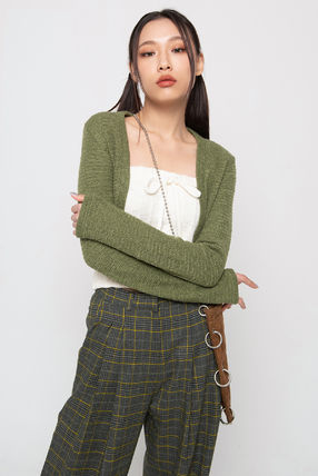 Co-ord Short Casual Style Long Sleeves Plain Street Style