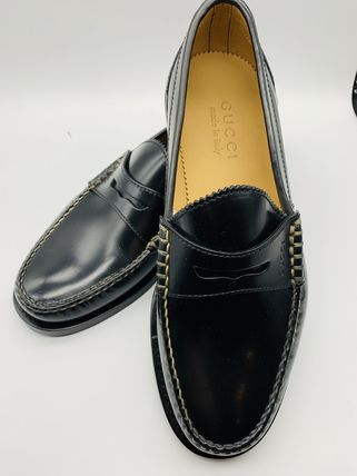 GUCCI Plain Leather Logo Oxfords