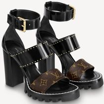 Louis Vuitton Monogram Open Toe Lace-up Casual Style Leather Block Heels