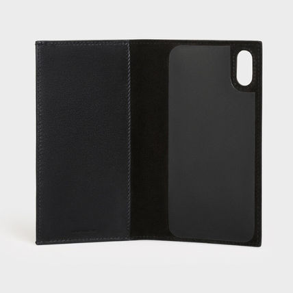 CELINE iPhone X iPhone XS Logo Unisex Plain Leather