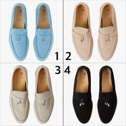 Moccasin Casual Style Suede Street Style Plain Logo