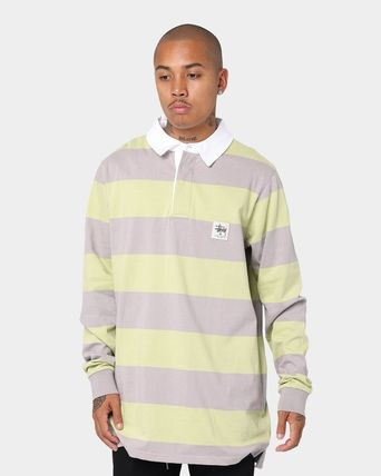 STUSSY Polos Skater Style Stripes Long Sleeves Cotton Polos