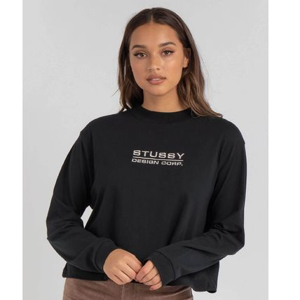 STUSSY Street Style Long Sleeves Plain Cotton Long Sleeve T-shirt