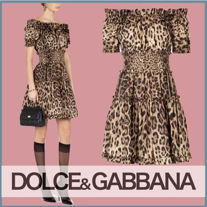 Dolce & Gabbana Bridal Leopard Patterns Short Sleeves Party Style Dresses