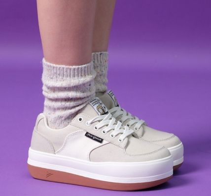 Logo Casual Style Unisex Plain Street Style Low-Top Sneakers