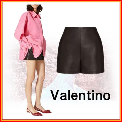 VALENTINO Short Casual Style Plain Leather Party Style Office Style