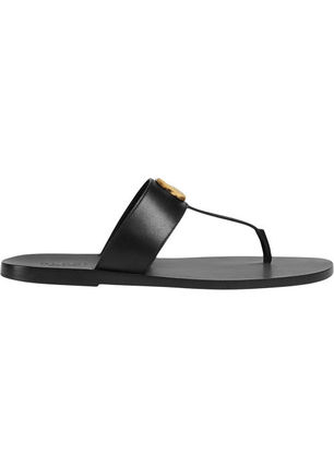 GUCCI Unisex Street Style Leather Logo Sandals