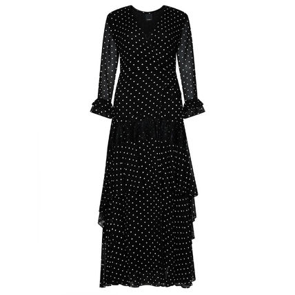 Dots Casual Style Maxi A-line Flared V-Neck Cropped