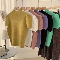Short Plain Short Sleeves High-Neck Puff Sleeves Cropped