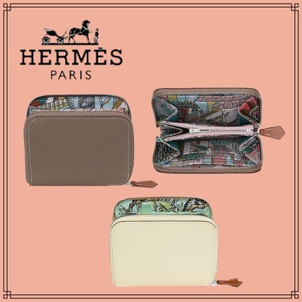 HERMES Long Wallet  Small Wallet Calfskin Folding Wallets
