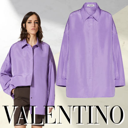 VALENTINO Casual Style Unisex Plain Oversized Bridal Front Button