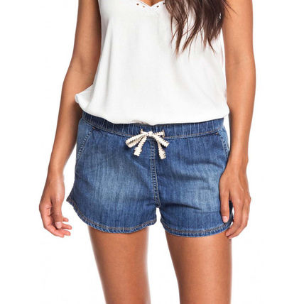 ROXY Short Casual Style Denim Plain Denim & Cotton Shorts
