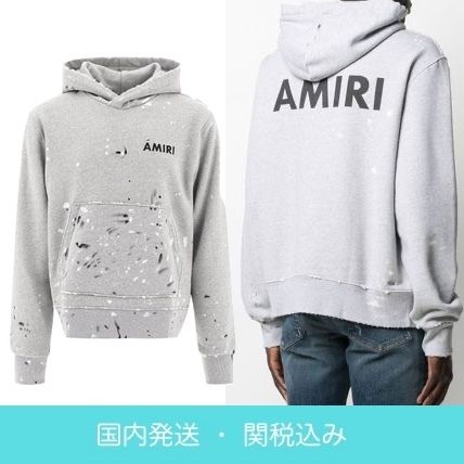 AMIRI Street Style Long Sleeves Plain Cotton Hoodies