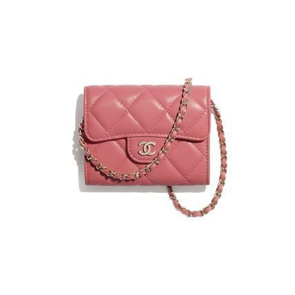 CHANEL CHAIN WALLET Lambskin Chain Plain Crossbody Logo Handbags