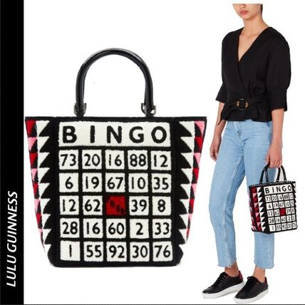 Lulu Guinness Totes Casual Style Blended Fabrics A4 Logo Totes