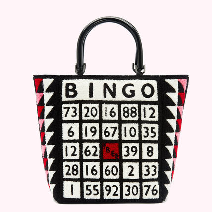 Lulu Guinness Totes Casual Style Blended Fabrics A4 Logo Totes 3