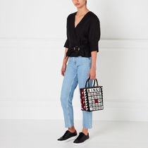Lulu Guinness Totes Casual Style Blended Fabrics A4 Logo Totes 7