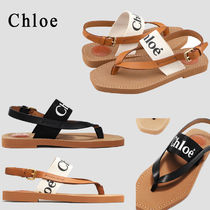 Chloe Open Toe Casual Style Street Style Leather Footbed Sandals