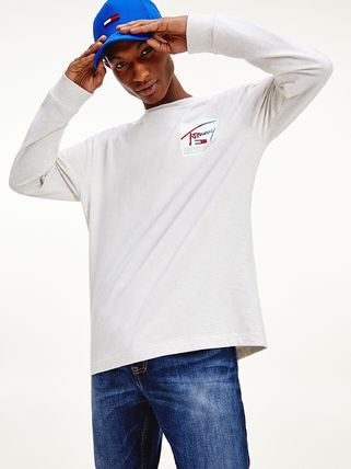Tommy Hilfiger Long Sleeve T-shirt Logo Crew Neck Pullovers Unisex