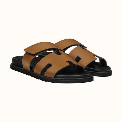 HERMES Chypre Suede Street Style Plain Leather Logo Sandals