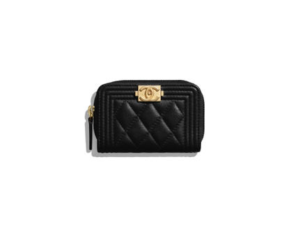 CHANEL BOY CHANEL Leather Long Wallet  Small Wallet Coin Cases