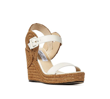 Jimmy Choo Platform Casual Style Plain Leather Block Heels Party Style