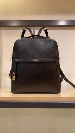 FURLA PIPER Casual Style A4 Plain Leather Office Style Elegant Style