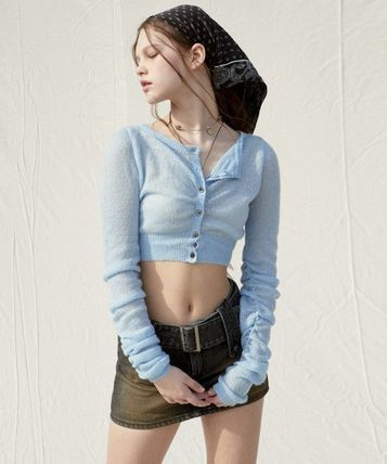PAIN OR PLEASURE Cropped Short Casual Style Wool Nylon Street Style Long Sleeves 3
