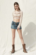 PAIN OR PLEASURE Cropped Short Casual Style Wool Nylon Street Style Long Sleeves 4