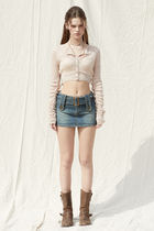 PAIN OR PLEASURE Cropped Short Casual Style Wool Nylon Street Style Long Sleeves 5