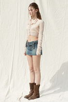 PAIN OR PLEASURE Cropped Short Casual Style Wool Nylon Street Style Long Sleeves 6