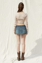 PAIN OR PLEASURE Cropped Short Casual Style Wool Nylon Street Style Long Sleeves 7