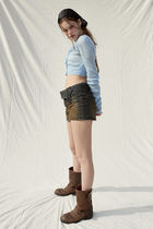 PAIN OR PLEASURE Cropped Short Casual Style Wool Nylon Street Style Long Sleeves 10