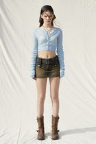 PAIN OR PLEASURE Cropped Short Casual Style Wool Nylon Street Style Long Sleeves 14