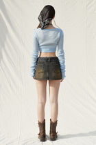 PAIN OR PLEASURE Cropped Short Casual Style Wool Nylon Street Style Long Sleeves 16