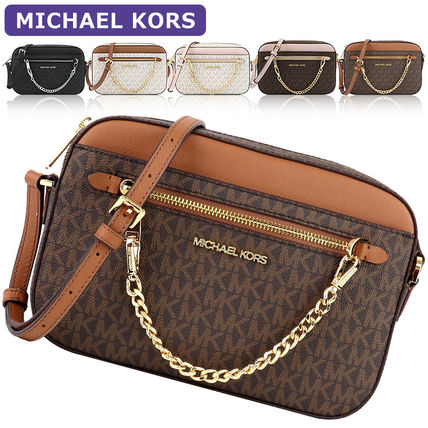 Michael Kors Chain Plain Leather Crossbody Logo Shoulder Bags