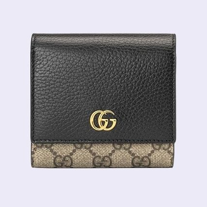 GUCCI GG Marmont Canvas Blended Fabrics Leather Folding Wallet Logo