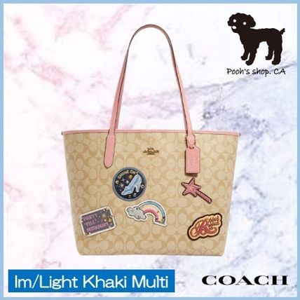 Coach Disney X Coach City Tote In Signature Canvas With Patches