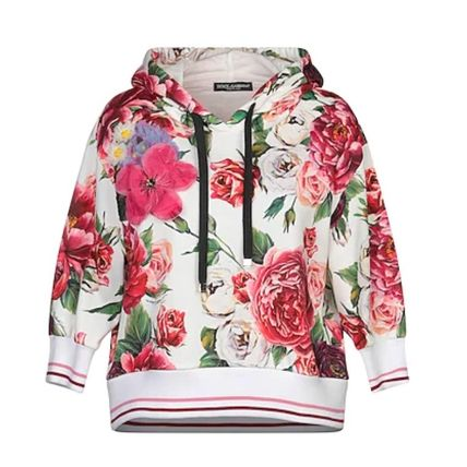Dolce & Gabbana Logo Short Flower Patterns Cropped Long Sleeves Cotton
