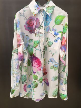 Flower Patterns Long Sleeves Cotton Medium Oversized