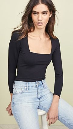 Free People Casual Style Nylon Cropped Plain Tops