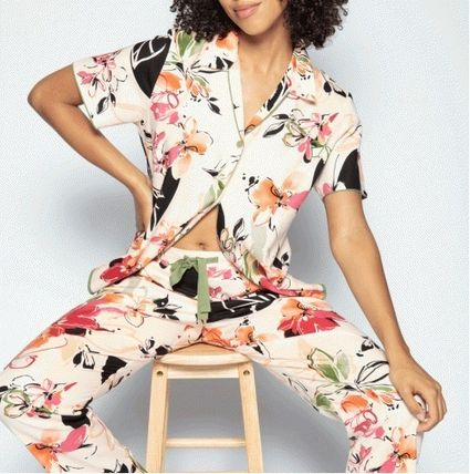 Flower Patterns Co-ord Front Button Loungewear