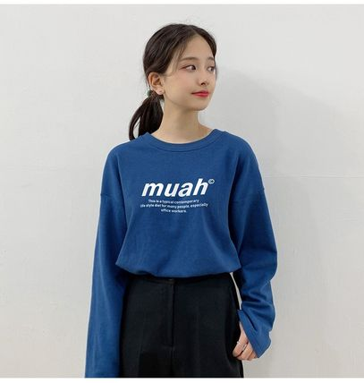 muahmuah Crew Neck Long Sleeves Cotton Medium Oversized