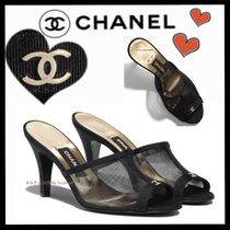 CHANEL ICON Open Toe Casual Style Plain Elegant Style Mules