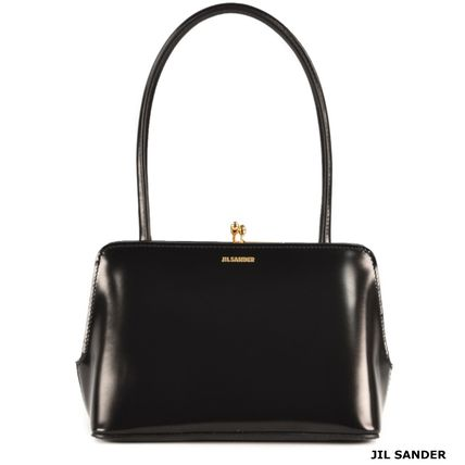 Jil Sander Plain Leather Elegant Style Logo Handbags